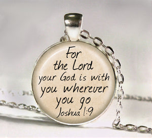God Is With You Bubbled Glass Necklace
