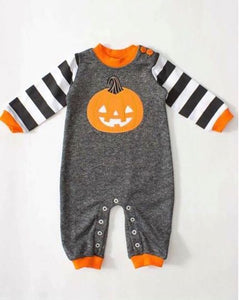 Embroidered Pumpkin Striped Romper • PREORDER CLOSES SATURDAY, JULY 28