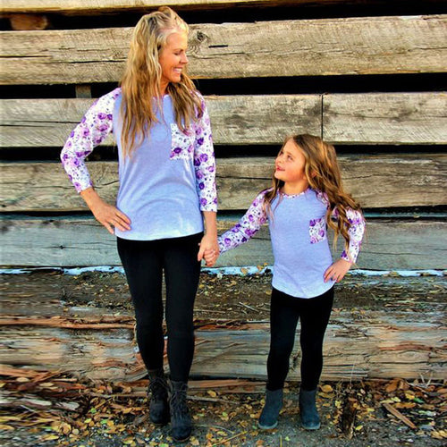 Gray & Purple Mommy & Me Raglan • PREORDER
