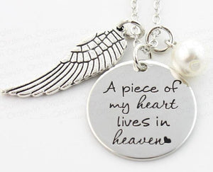 A Piece of my Heart lives in Heaven Wing Charm Necklace