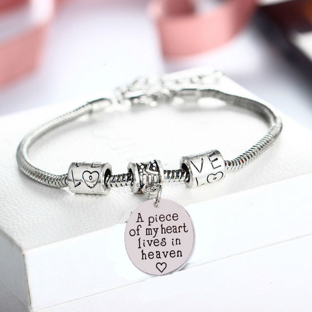 A Piece of my Heart lives in Heaven Rope Charm Bracelet