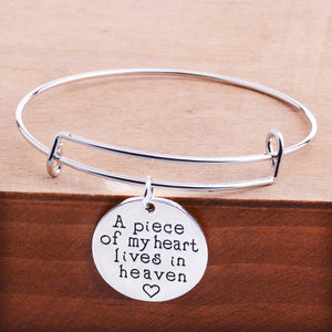 A Piece of my Heart lives in Heaven Charm Bangle Bracelet