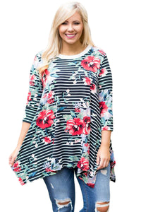 CURVY • Striped Floral Print Flowy Top • PREORDER CLOSES SUNDAY, SEPT. 16