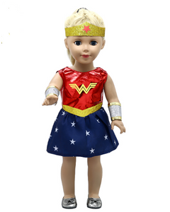"18"" Doll - Wonder Woman Costume, Cuffs, & Headband!"