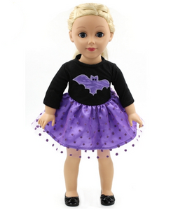"18"" Doll - Purple Polka Dot Bat Dress"