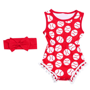 Red Baseball Pom-Pom Onesie WITH Headband • PREORDER