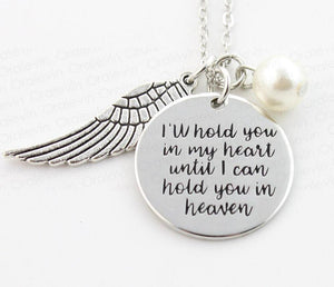 I'll Hold You in my Heart Wing Charm Necklace