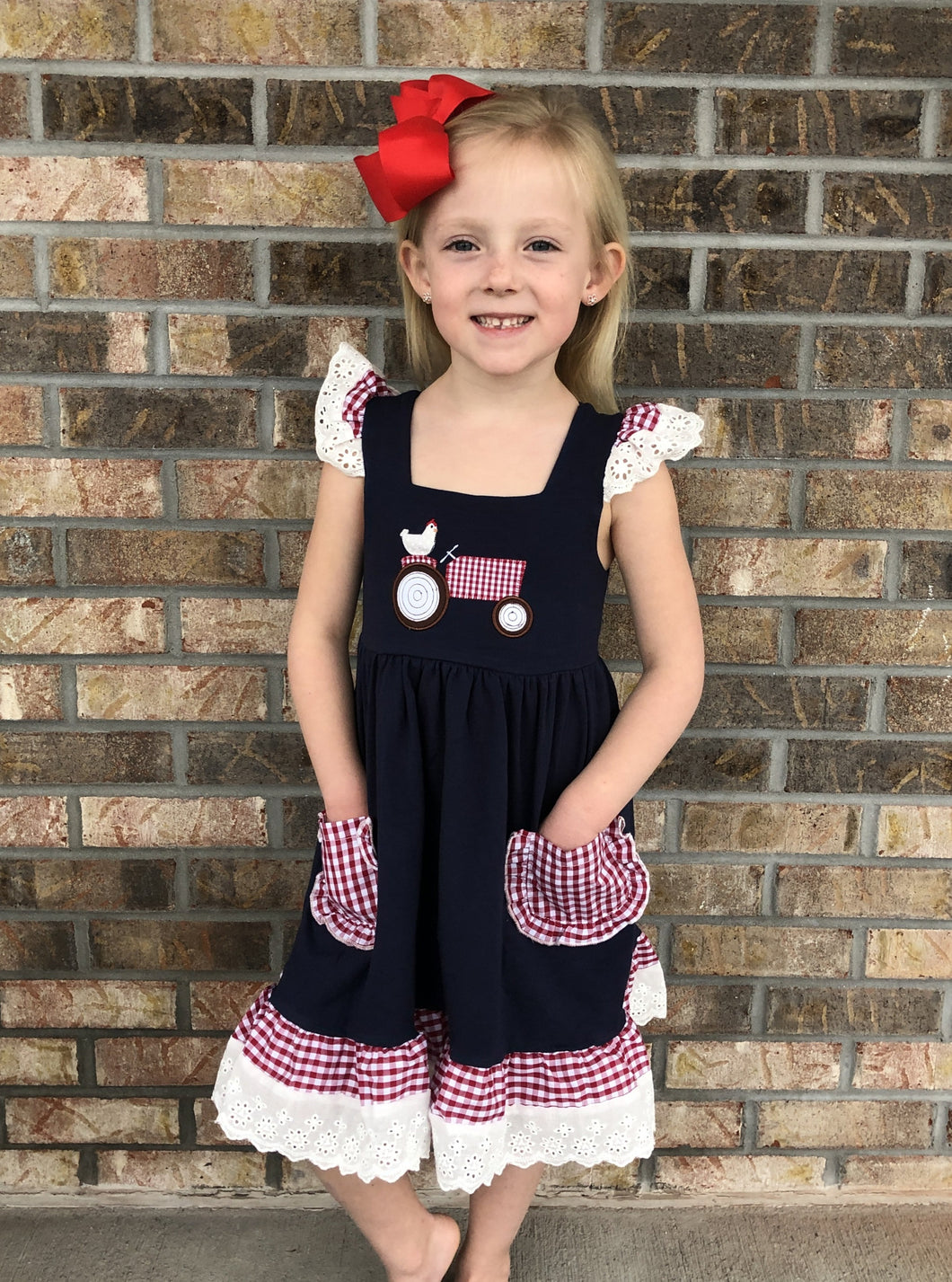 6/12m, 3T • Little Plaid Tractor Lace Trim Dress