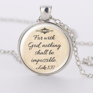 With God Nothing Shall Be Impossible Bubbled Glass Silver Necklace - IN STOCK