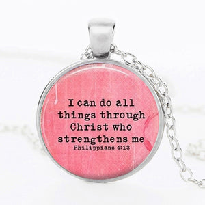 I Can Do All Things Through Christ Bubbled Glass Necklace - 3 Colors!