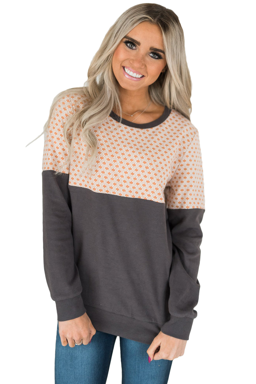 Coral & Gray Snowflake Sweatshirt • PREORDER CLOSES SUNDAY, SEPT. 16