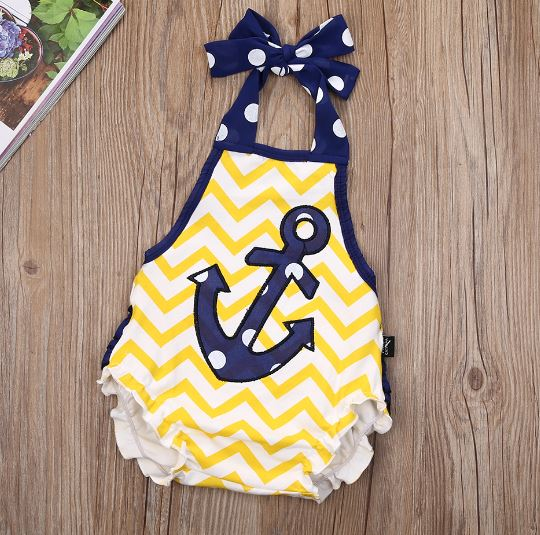 Yellow Chevron Polka Dot Anchor Bubble Romper