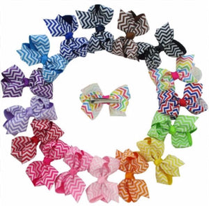 "3"" Chevron Hair Bows - Bulk Set • 16 Colors"