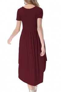 S • Maroon High Low Swing Dress with Pockets