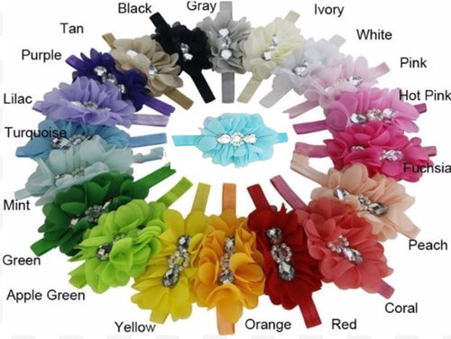 Rhinestone Flower Head Bands - Bulk Set • 20 Colors