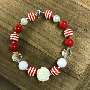 Red Striped Love Chunky Bead Necklace