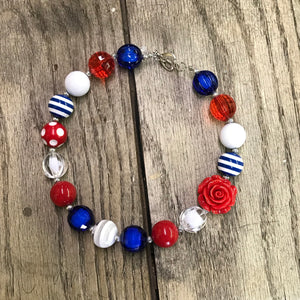 Red, White, & Blue Stripes Chunky Bead Rose Necklace