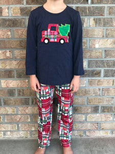 12/18m-7/8 • Plaid Christmas Tree Truck Pants Set
