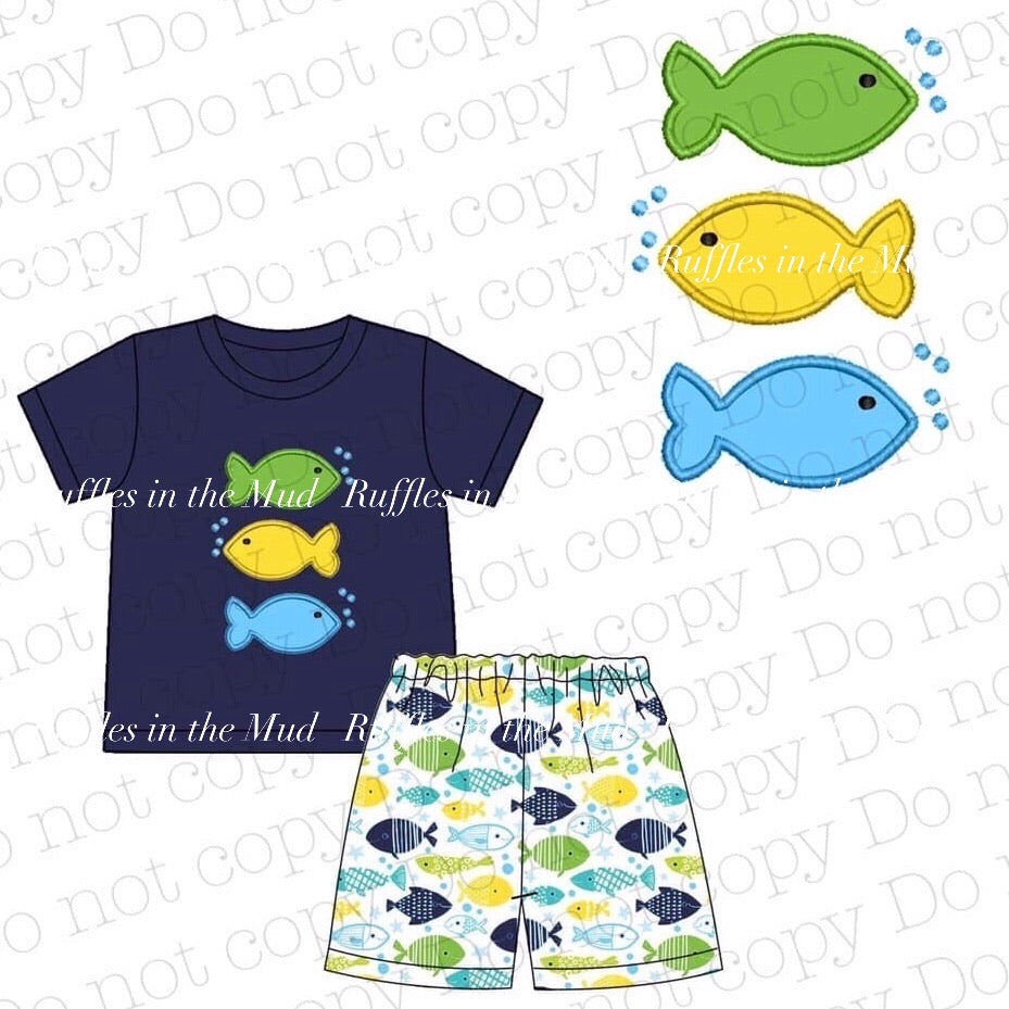 Little Fishes Applique Shorts Set • PREORDER CLOSES SATURDAY, FEB. 29