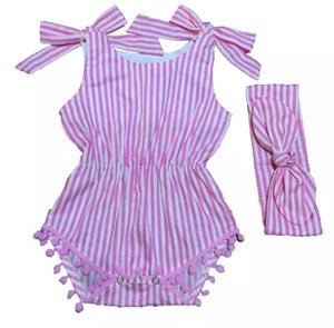 Pink Striped Pom-Pom Romper with Retro Tie Headband