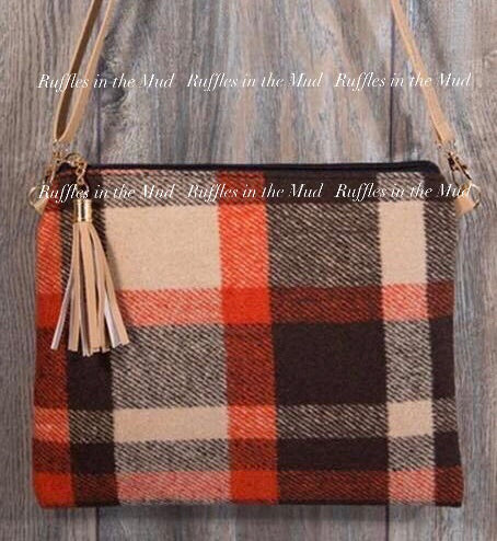 Orange & Brown Flannel Handbag
