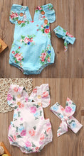Floral Criss-Cross Onesies with Retro Hair Tie