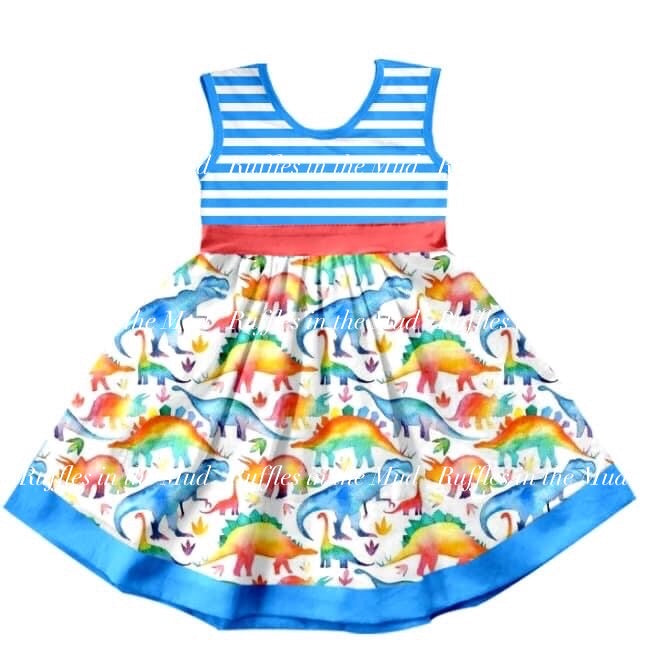 Watercolor Dinosaurs Blue Striped Dress • PREORDER CLOSES SATURDAY, MAY 9