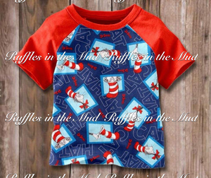 Blue Cat in the Hat Raglan • PREORDER CLOSES THURSDAY, NOV. 29 @ 9pm!