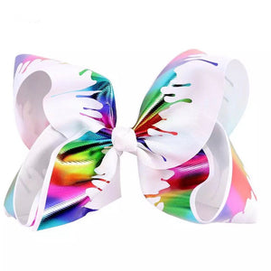 "8"" • Rainbow Shimmer Paint Drip Bow"