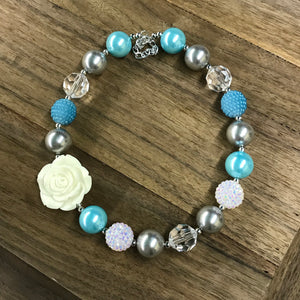 Blue, Silver, & White Rose Chunky Bead Necklace
