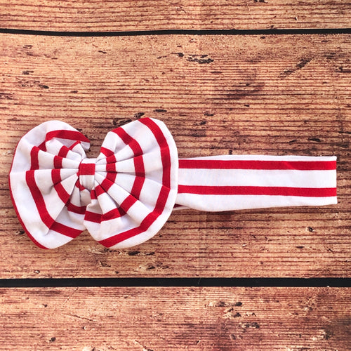 Red & White Thin Stripe Hair Bow Hair Wrap
