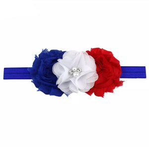 Red, White, & Blue Pearl Flowers on Blue Headband
