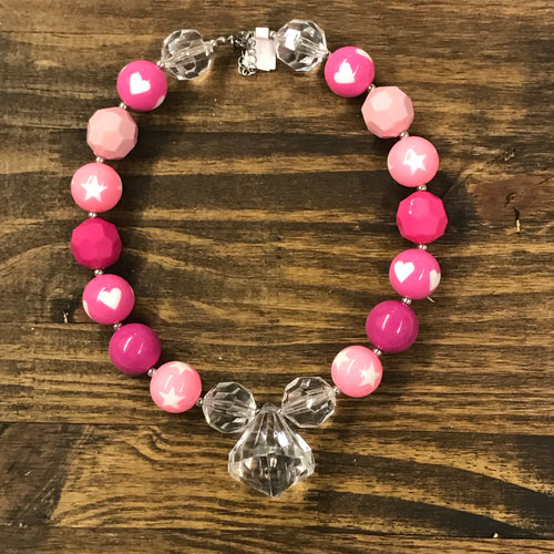 Hearts & Stars Valentine Jewel Chunky Bead Necklace