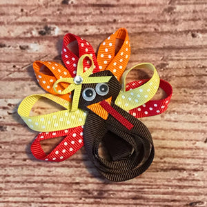 "3"" • Red & Yellow Turkey Loop Hair Bow"