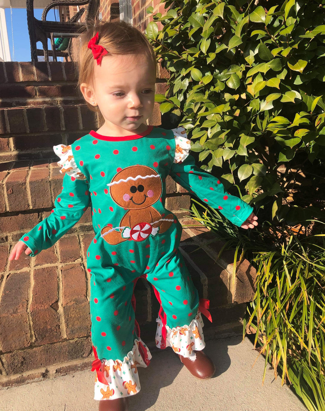 0/3m-12/18m • Sweet Gingerbread Cookie Ruffle Romper