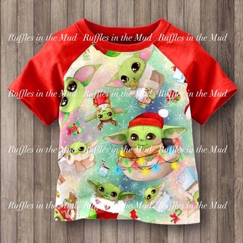 3T, 4T, 18/20 • Yoda Christmas Short Sleeve Raglan