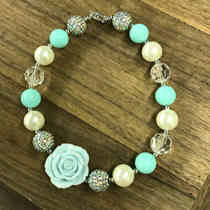 Mint Rose & Sparkles Chunky Bead Necklace