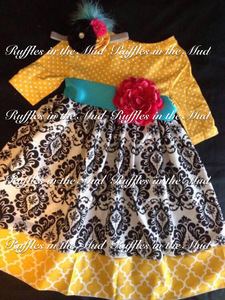 Yellow & Black Damask Dress • PREORDER CLOSES SUNDAY, SEPT. 16