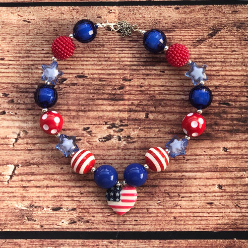 Red, White, & Blue Heart Chunky Bead Necklace