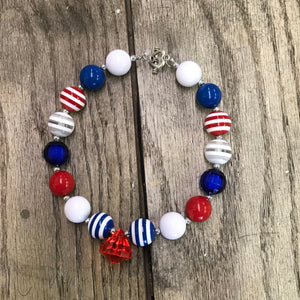 Red, White, & Blue Stripes Chunky Bead Jewel Necklace
