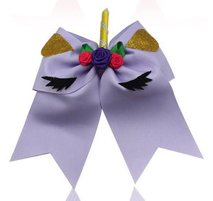 "7"" • Purple • Unicorn Cheer Bow - with ponytail band"