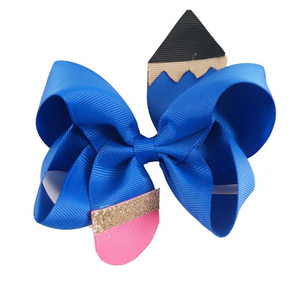 "Blue • 4.5"" Pencil Hair Bow"