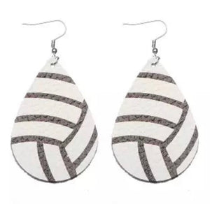 Volleyball Faux Leather Earrings