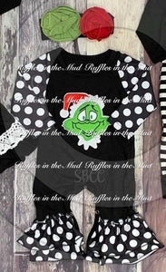 3/6m • Embroidered Black & White Grinch Ruffle Romper