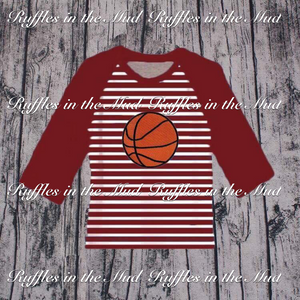 Maroon Striped Basketball Raglan • PREORDER CLOSES THURSDAY, AUGUST 30 @ 5pm!!!