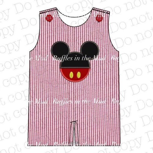 0/3m • Mickey Applique Seersucker Boys Romper