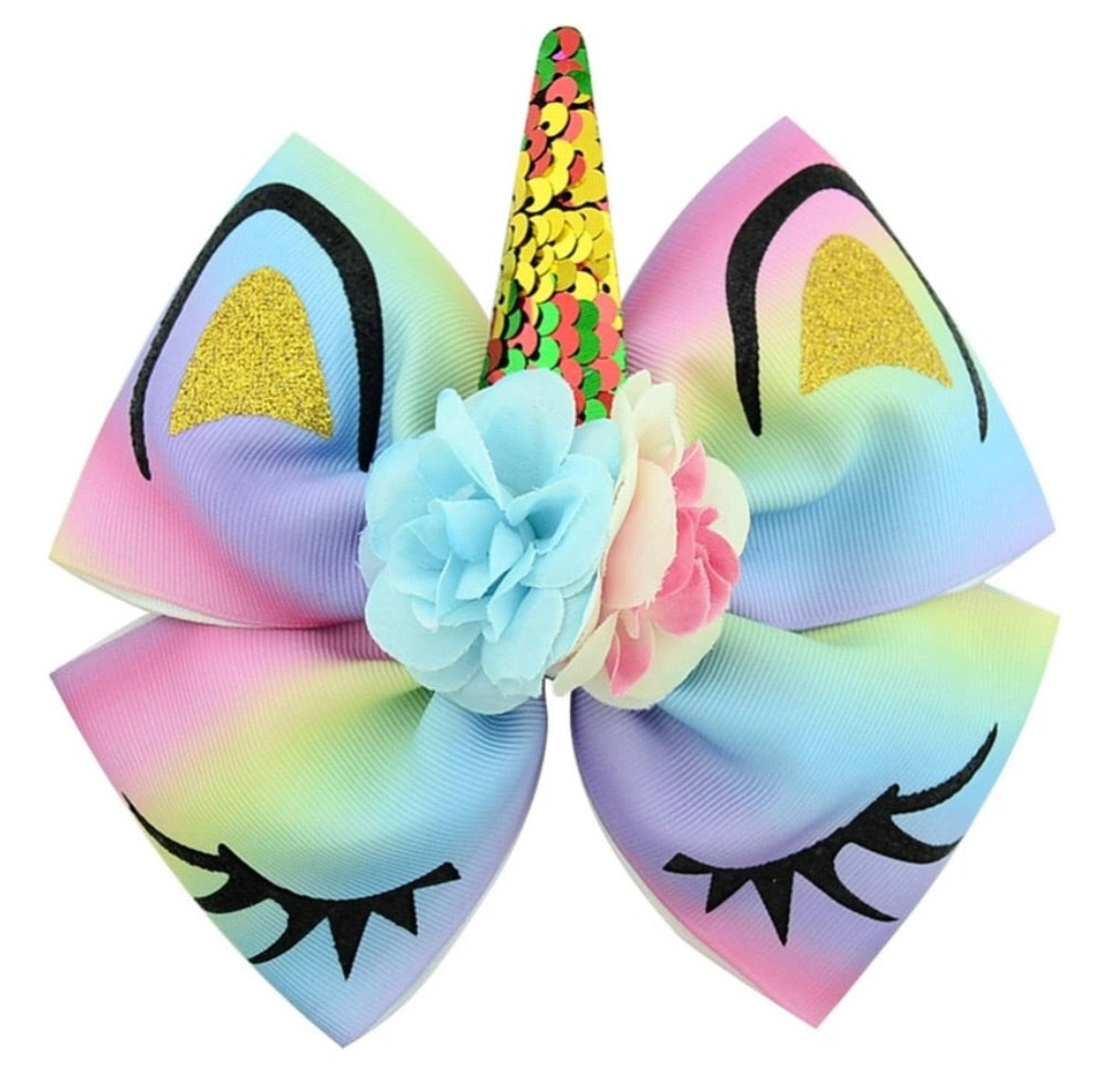 "6"" • Rainbow Unicorn Hair Bow"