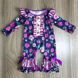 6/12m • Purple Flower & Stripes with Bow Ruffle Romper