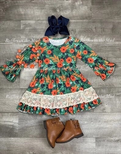 Navy, Orange, & Green Floral Upscale Boutique Dress • PREORDER CLOSES WEDNESDAY, SEPT. 25