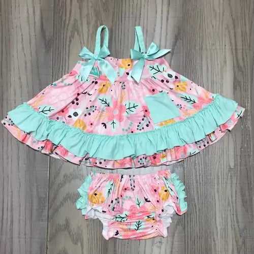 0/3m-12/18m • Mint & Pink Floral Swing Outfit with Ruffle Butt Bloomers